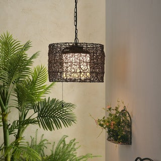 Carbon Loft Adams Blackened Bronze 1-light Outdoor Pendant