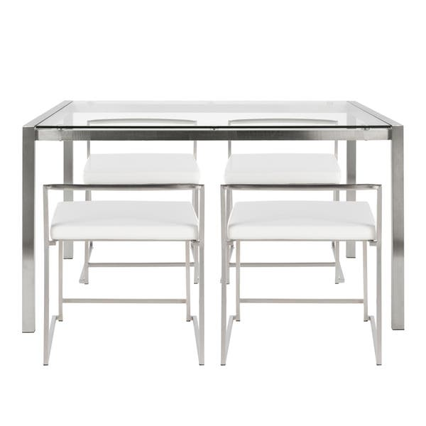 Fuji 5 Piece Modern Stainless Steel Dining Set