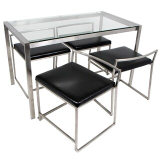 Fuji 5-Piece Modern Stainless Steel Dining Set (2 options available)