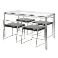 Fuji 5-Piece Contemporary Dining Set in Stainless Steel and Clear Glass