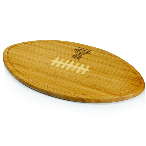 Picnic Time Kickoff Texas Tech Red Raiders Engraved Natural Wood Cutting Board