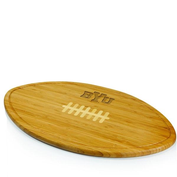 Picnic Time Kickoff Brigham Young University Cougars Engraved Natural Wood Cutting Board - Brown