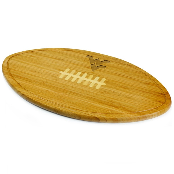 Picnic Time Kickoff West Virginia University Mountaineers Engraved Natural Wood Cutting Board