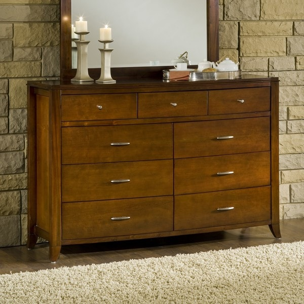 Bow Front 9 Drawer Dresser