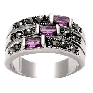 City by City Silvertone Purple CZ and Black Marcasite 3-row Ring