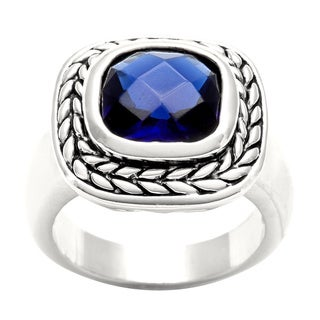 City by City Silver Overlay Montana Blue Cubic Zirconia Ring