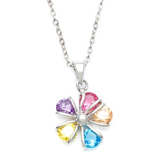City by City Silvertone Multi-colored Crystal and CZ Flower Necklace