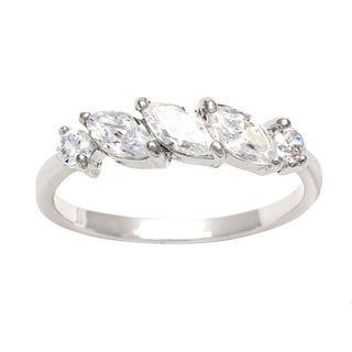 City by City Silvertone Marquise and Round Cubic Zirconia Ring