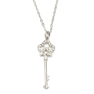 City by City Silvertone Clear Cubic Zirconia Key Necklace