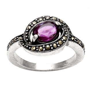 City by City Silvertone Amethyst and Marcasite Antiqued Ring