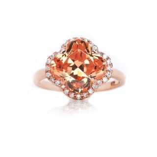 Blue Box Jewels Rose Goldplated Silver Champagne CZ Clover Ring