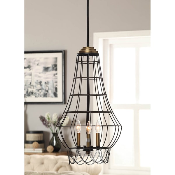 Birdie Cage 3-light Distressed Iron Mini Chandelier - Free ...