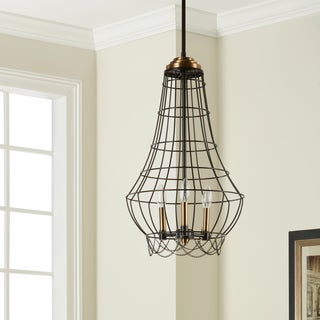 Birdie Cage 3-light Distressed Iron Mini Chandelier