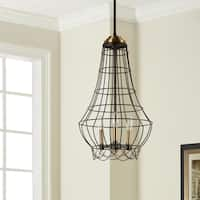 Oliver & James Birdie Cage 3-light Distressed Iron Mini Chandelier