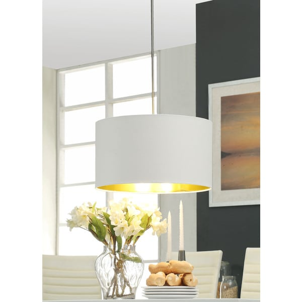 Gold Foil-lined 3-light Brushed Nickel Pendant