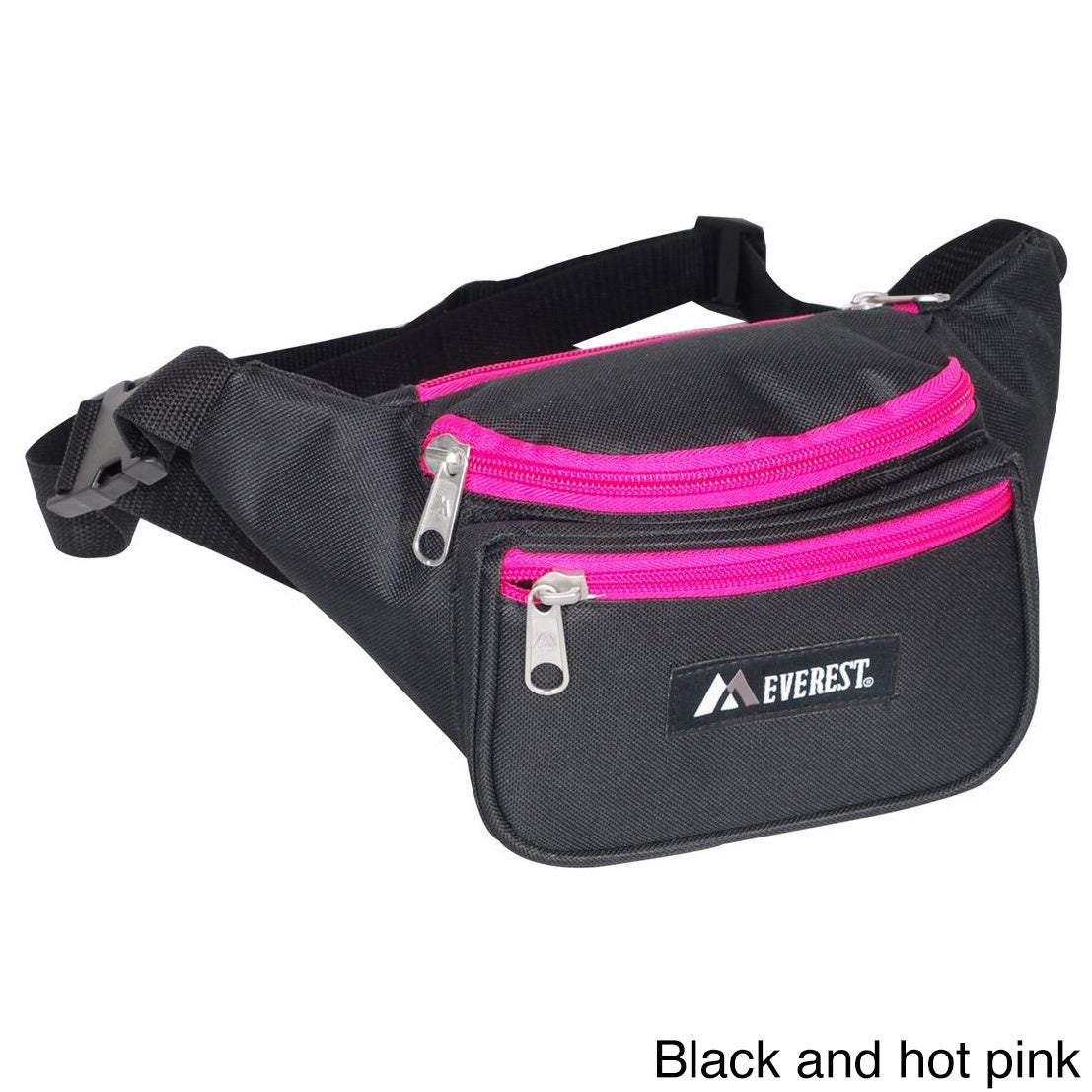 Everest 11.5-inch Wide Signature Fanny Pack (Black/ Hot P...