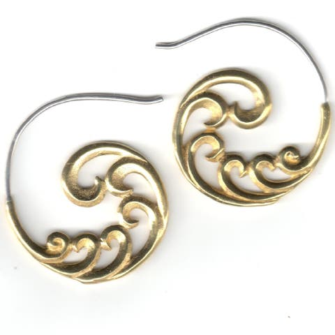 Handmade Brass Sacred Swirls Hook Earrings by Spirit (Indonesia)