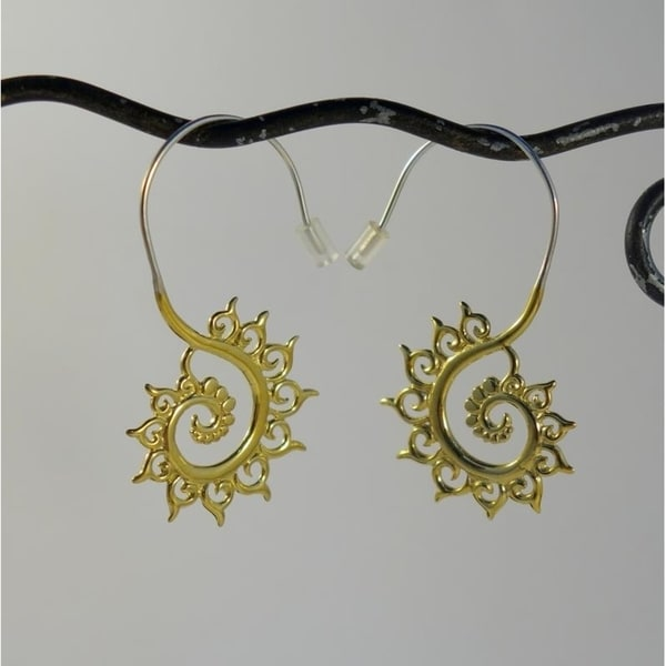 a3102f2df Handmade Brass Fibonacci Swirl Hook Earrings by Spirit (Indonesia)