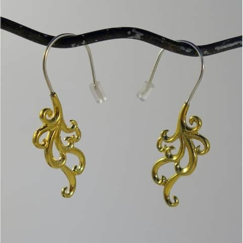 Handmade Brass Swirl Cascade Hook Earrings by Spirit (Indonesia)