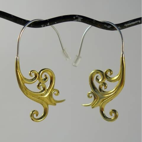 Handmade Brass Goddess Spiral Hook Earrings by Spirit (Indonesia)
