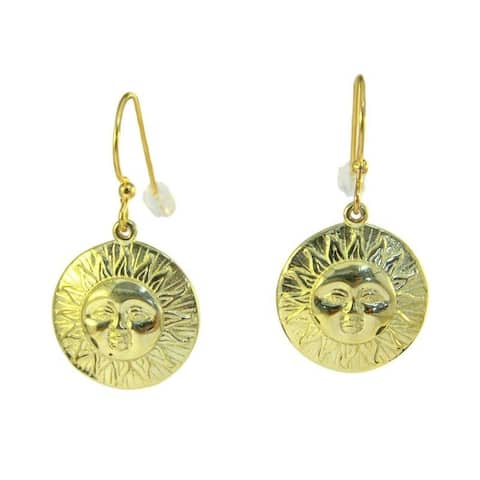 Handmade Brass 'Here comes the Sun' Medallion Earrings (Indonesia)