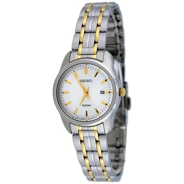 Seiko Women's SXDE67 Gold Stainless-Steel Quartz Watch with White Dial