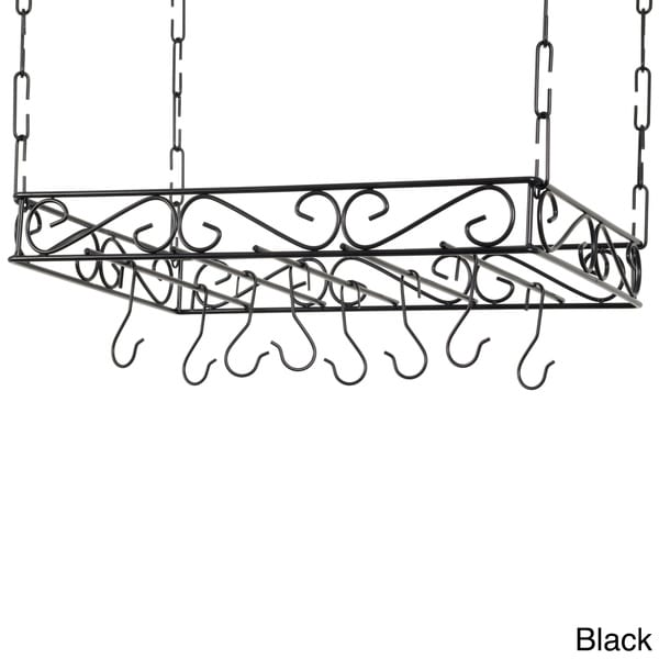 Scrolled Iron Rectangular Ceiling Pot Rack