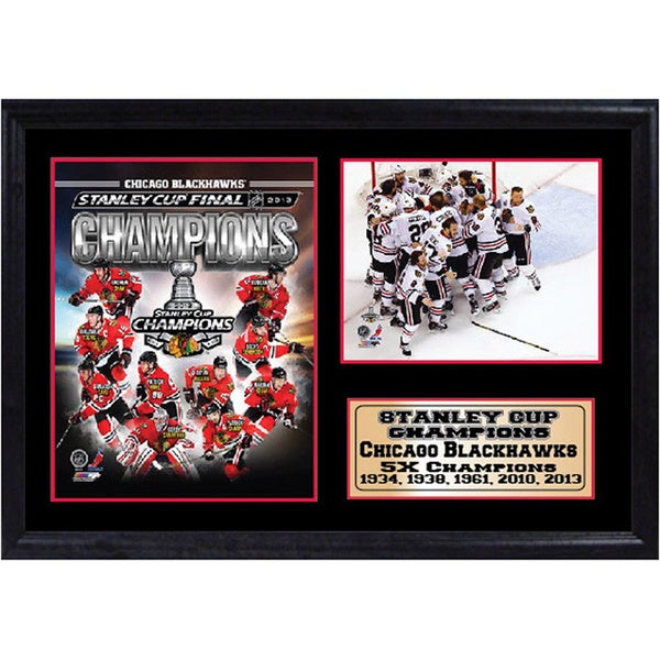 Chicago Blackhawks Champs 12 x 18 Photo Stat Frame
