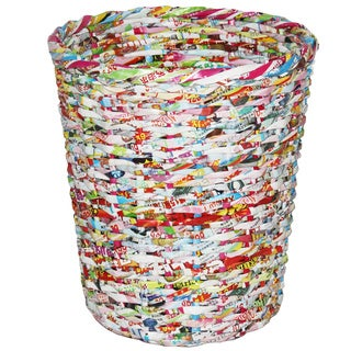"""Handmade Multicolor Recycle Basket - 11"""" x 10"""" (Philippines)"""