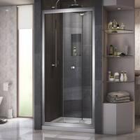 DreamLine Butterfly Frameless Bi-Fold Shower Door and SlimLine 32 in. by 32 in. Single Threshold Shower Base