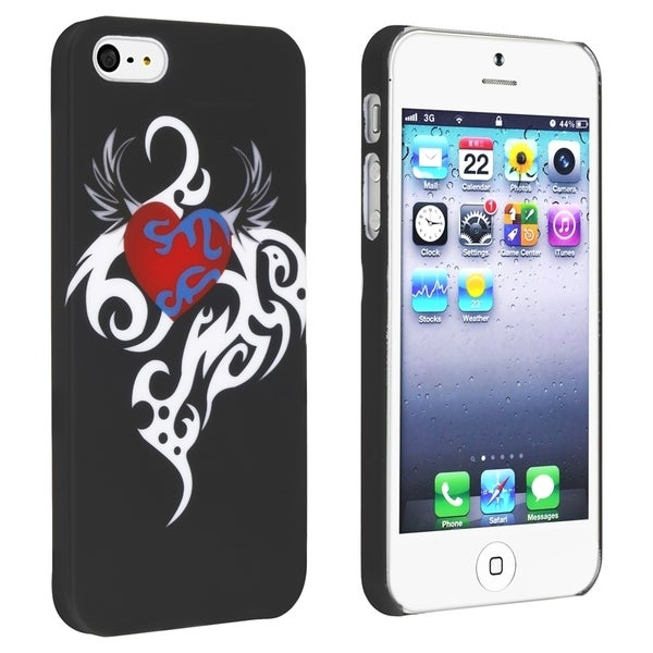 INSTEN White/ Red Heart Phone Case Cover for Apple iPhone 5