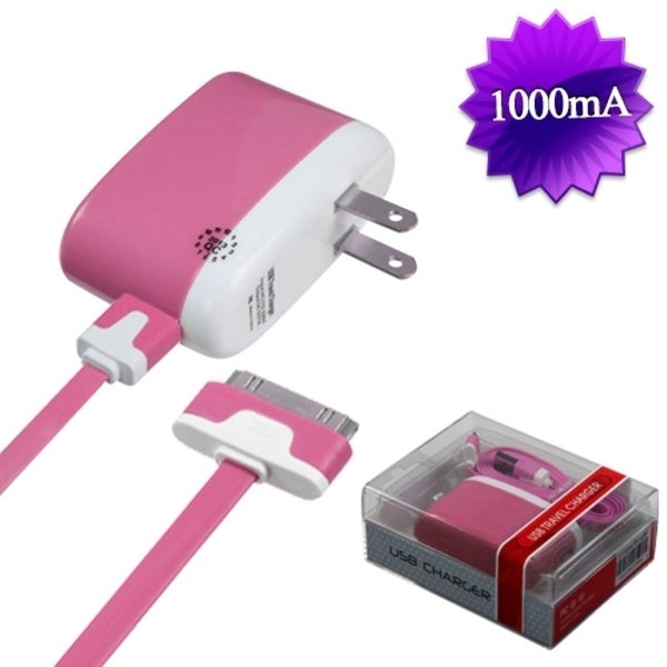 BasAcc 30-pin Pink Travel Charger for Apple iPhone 3G/ 3GS/ 4/ 4S