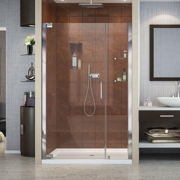 Shop DreamLine Elegance Frameless Pivot Shower Door and SlimLine 36 ...