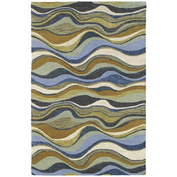 Hand-tufted Manhattan Blue Waves Rug - 5' x 7'6