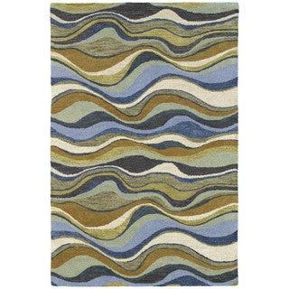 Hand-Tufted 'Manhattan' Blue Waves Rug (7'6 x 9'0)