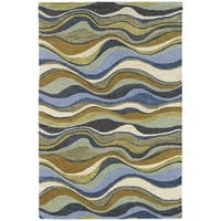 Hand-Tufted 'Manhattan' Blue Waves Rug - 7'6 x 9'0
