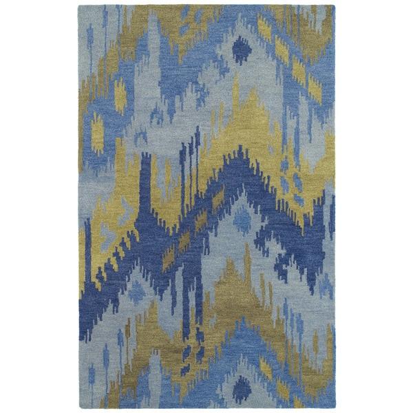 Manhattan Hand-tufted Blue Ikat Wool Rug - 7'6 x 9'