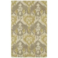 Hand-tufted Manhattan Yellow Ikat Rug - 5' x 7'6