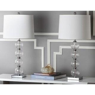 Safavieh Lighting 30-inch Amanda White Crystal Glass Globe Table Lamps (Set of 2)