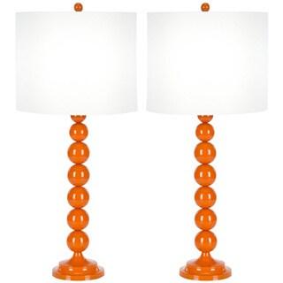 Safavieh Lighting 31-inch Orange Stacked Ball Table Lamps (Set of 2)