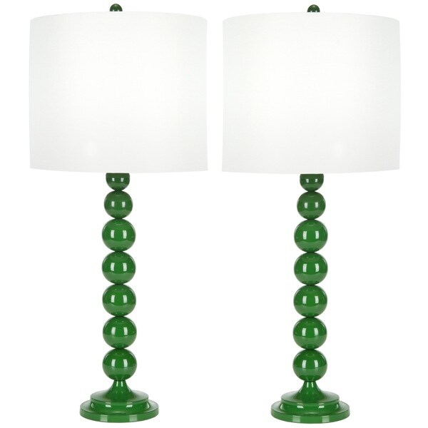 Safavieh Lighting 31-inch Green Stacked Ball Table Lamps (Set of 2)