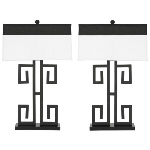 Safavieh Lighting 28-inch Greek Key Table Black Table Lamps (Set of 2)