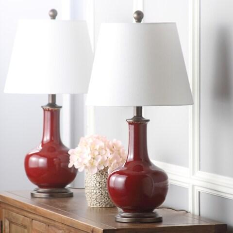 Safavieh Lighting 25-inch Carolanne Red Table Lamp (Set of 2)
