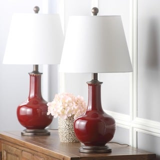 Safavieh Lighting 25-inch Carolanne Red Table Lamp (Set of 2)