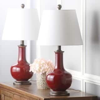 Buy red table lamps online at overstock our best lighting deals safavieh lighting 25 inch carolanne red table lamp set of 2 aloadofball Images