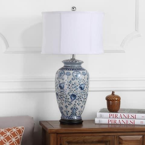 "Safavieh Lighting 27-inch Paige White/ Blue Jar Table Lamp - 15""x15""x26.75"""