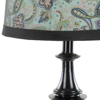 Safavieh Lighting 24.5-inch Paisley Shade Olivia Black Urn Table Lamps (Set of 2)