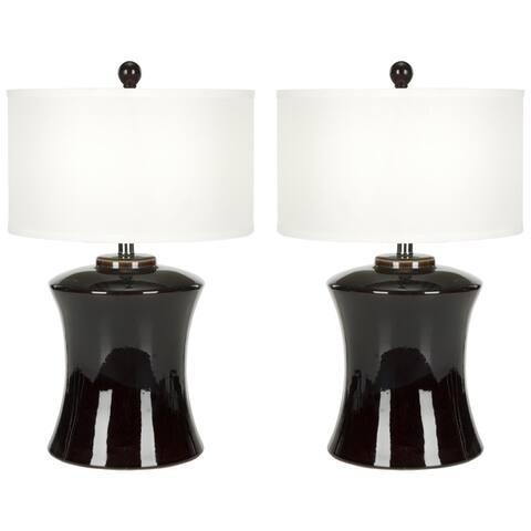 "Safavieh Lighting 24-inch Gary Ceramic Dark Brown Table Lamp (Set of 2) - 15""x15""x24"""