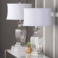 Safavieh Lighting Clear Glass and Silver Iron 27.5-inch Table Lamps with White Fabric Blend Shades (Set of 2)