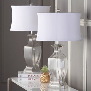 Safavieh Lighting Clear Glass And Silver Iron 27.5 Inch Table Lamps With  White Fabric Blend